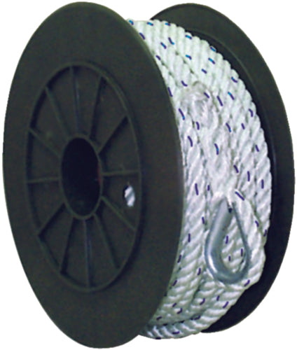 "Seachoice Anchor Line Twisted Nylon 3/8""x50ft White w/Blue Tracer 50-47691"