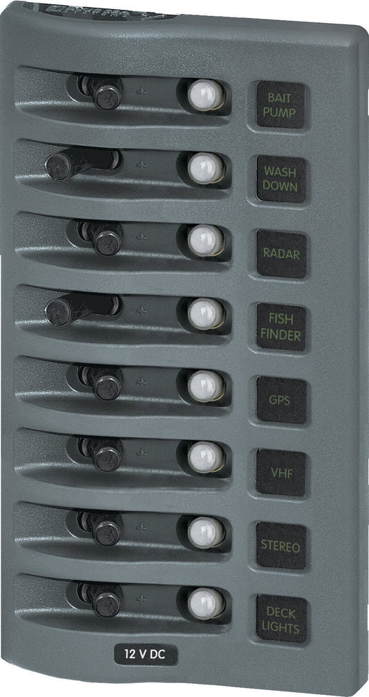 Blue Sea Water Resistant Circuit Breaker Panel 8 Switch 4378