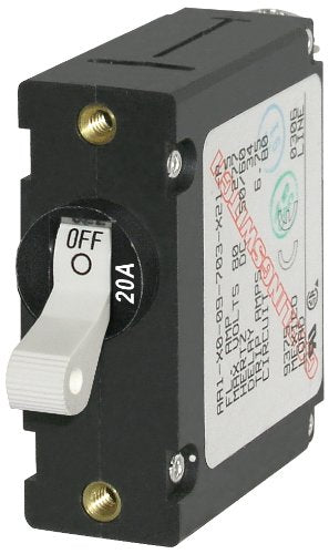 Blue Sea Single Pole AC/DC Circuit Breaker White 20amp 7214