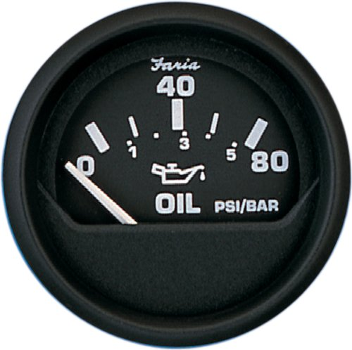 "Faria Euro Black Oil Pressure 2"" 80psi 12803"