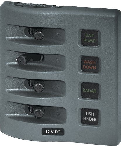 Blue Sea Water Resistant Fuse Panel 4 Switch 4304