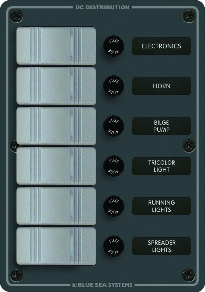 Blue Sea Contura Fuse Panel 6 Switch 8053