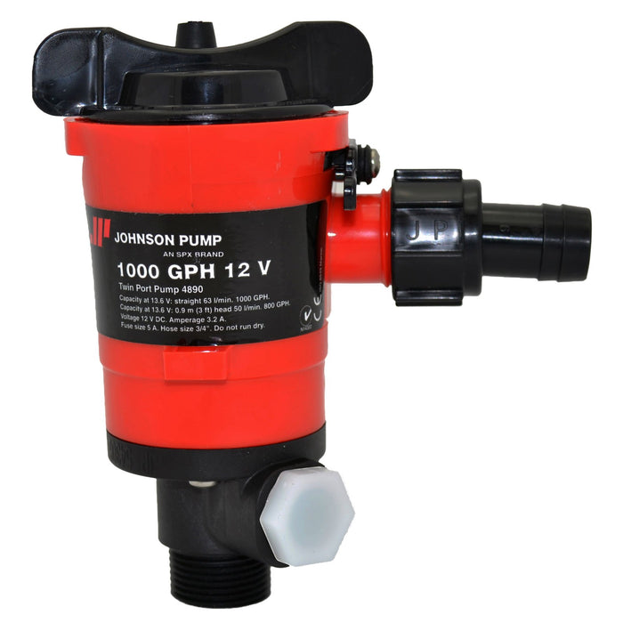 Johnson Dual Port Livewell/Washdown Pump 1000gph 48903