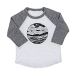 Kids Mountain Range Baseball Tee-Gray/White