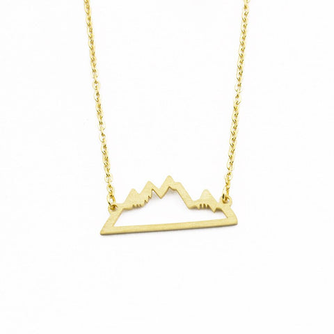 Personalized Snowy Mountain Necklace Gold Silver