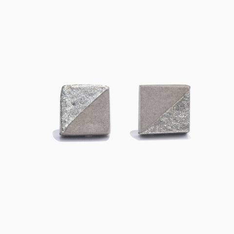 Silver Square Concrete Earrings