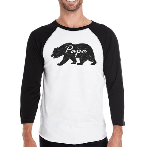 Papa Mama Baby Bears Mens Black And White Baseball