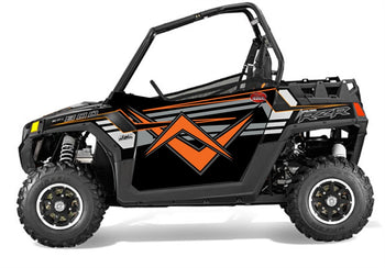 Trail Armor SLIMLINE Two Door Graphics Kit - 2014 RZR 800 EPS Gloss Black Orange Madness