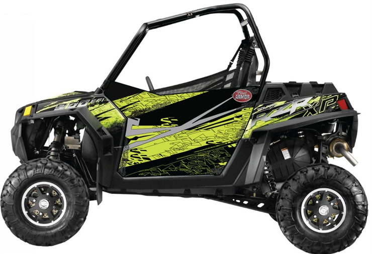 Trail Armor SLIMLINE Two Door Graphics Kit - 2013 RZR XP 900 Stealth Black Evasive Green