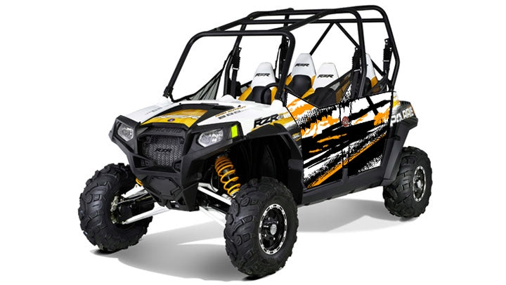Trail Armor Slimline 4 Door Graphics Kit - 2011 RZR 4 Robbie Gordon Orange Madness