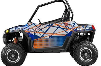 Trail Armor Slimline Two Door Graphics Kit - 2013 RZRS 800 Blue Fire-Orange LE