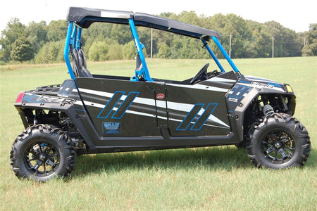 Trail Armor GenX Four Door Graphics Kit - 2014 RZR4 800 LE Stealth Black Voodoo Blue