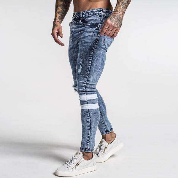 Bleached Double Striped - Skinny Jeans Men's clothing - IZIIA