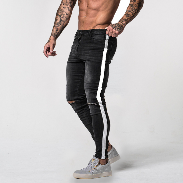 Washed Black Ripped Side Stripe - Skinny Jeans Men's Pants - IZIIA