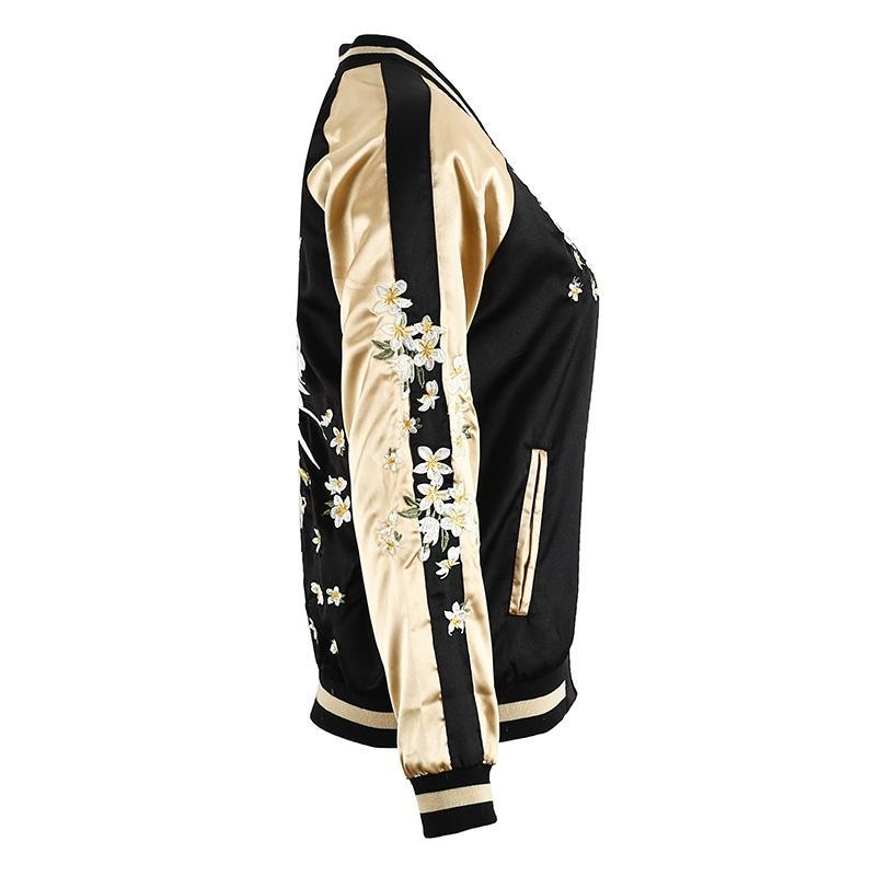 The Golden Satin Bomber Jacket women's clothing - IZIIA