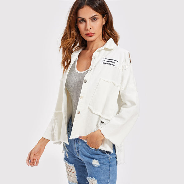 Lille Distressed Jacket women's clothing - IZIIA