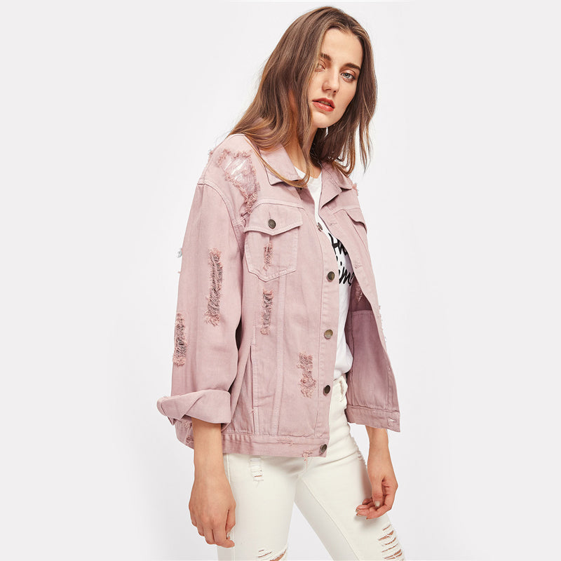 Ripped Aura Denim Jacket women's clothing - IZIIA