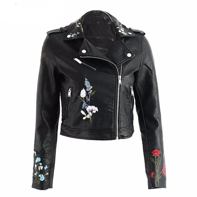 Floral Leather Jacket women's clothing - IZIIA