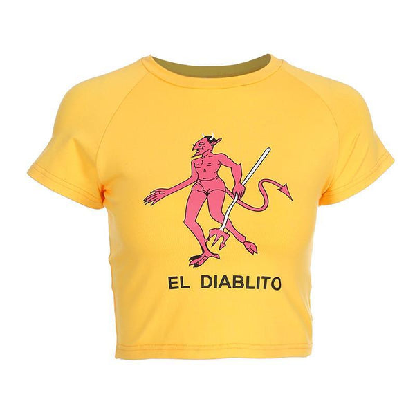 El Diablito Crop Top women's clothing - IZIIA
