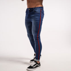 Red Striped Exclusive Skinny Jeans Men's clothing - IZIIA