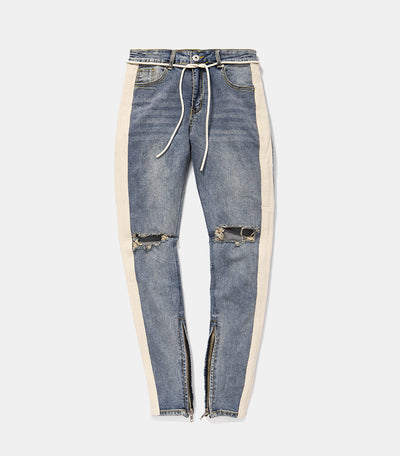 Destroyed Retro Skinny Denim - BLUE Men's clothing - IZIIA