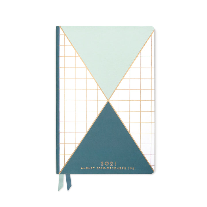 MEDIUM PRINTED VEGAN LEATHER AGENDA | TRIANGLE GRID