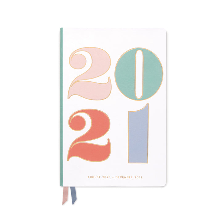 "MEDIUM PRINTED VEGAN LEATHER AGENDA | ""2021"" COLORFUL"