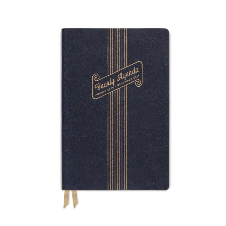 "MEDIUM NAVY VEGAN LEATHER AGENDA | ""YEARLY AGENDA"" SCROLL"