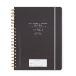 LARGE STANDARD ISSUE 17 MONTH TWIN WIRE AGENDA 2021 | BLACK