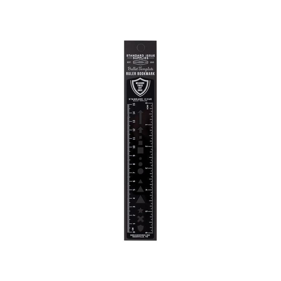 STANDARD ISSUE BULLET TEMPLATE RULER | BLACK