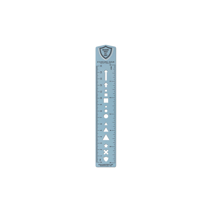 STANDARD ISSUE BULLET TEMPLATE RULER | BLUE