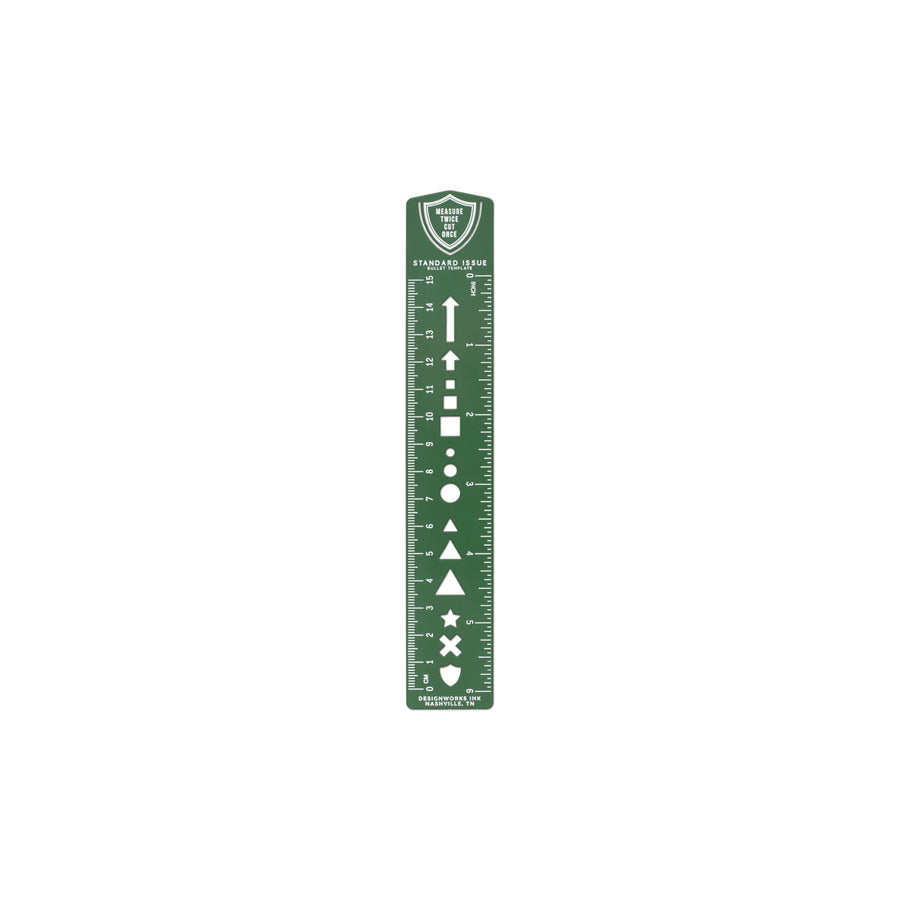 STANDARD ISSUE BULLET TEMPLATE RULER | SCOUT GREEN