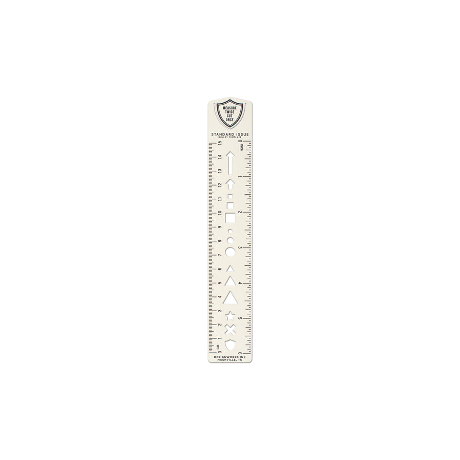 STANDARD ISSUE BULLET TEMPLATE RULER | CREAM