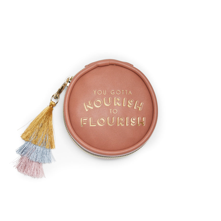 Vegan Leather Pill Box with Tassel - Nourish to Flourish