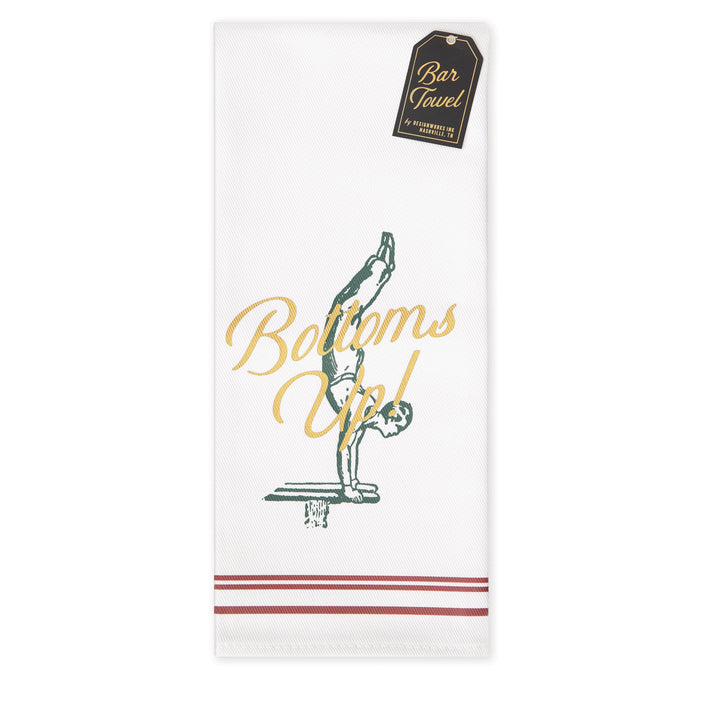 "BARWARE BAR TOWEL | ""BOTTOMS UP!"""