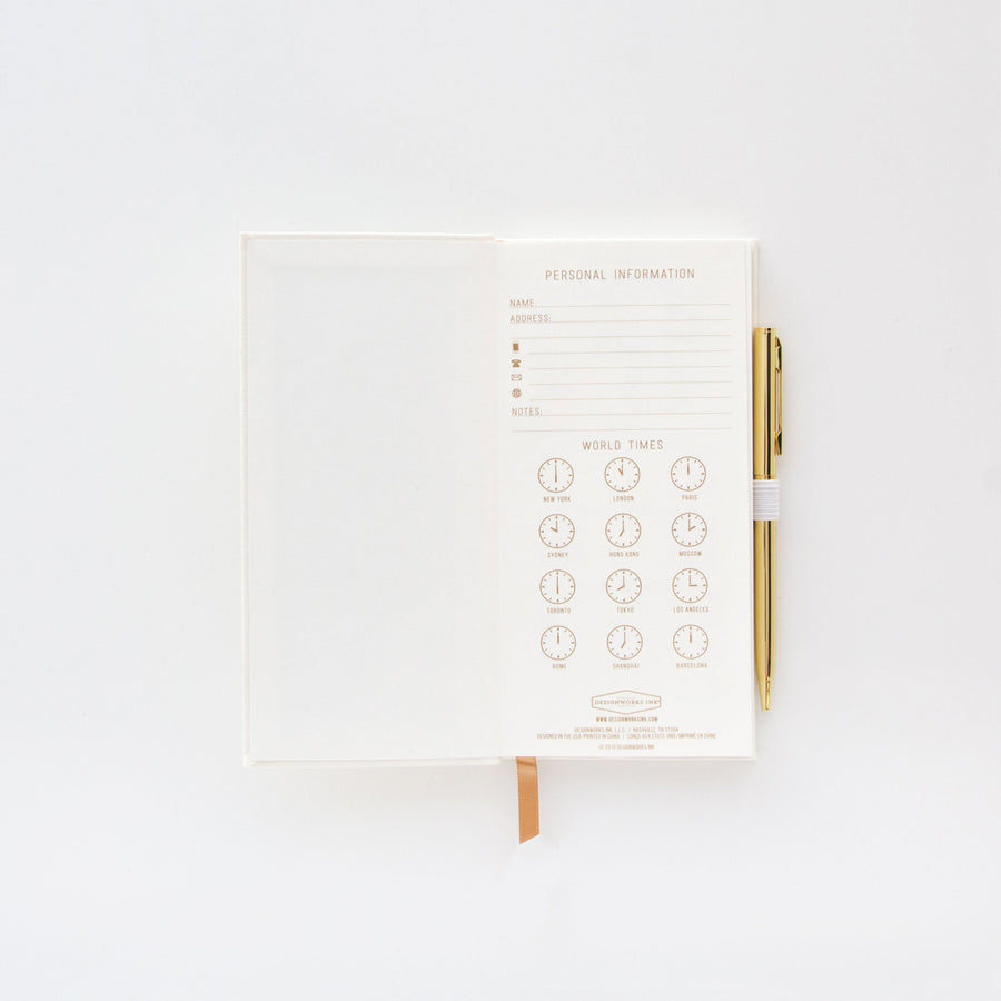 "SKINNY JOURNAL WITH PEN | ""THE LITTLE BOOK OF WHITE LIES"""