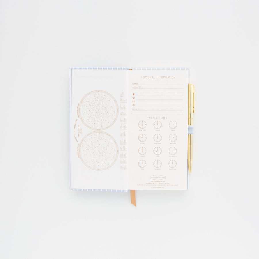SKINNY JOURNAL WITH PEN | BLUE STRIPED BOOK CLOTH