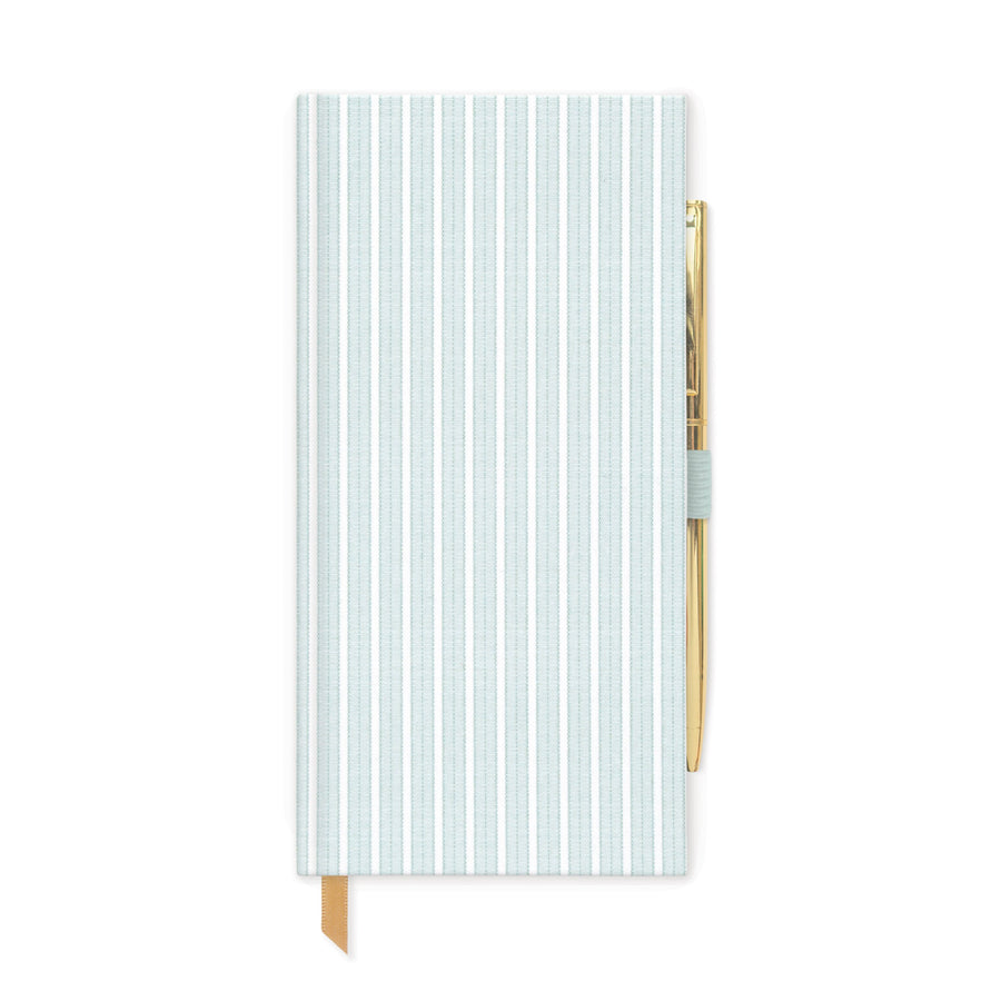 SKINNY JOURNALS WITH PEN | MINT STRIPED BOOK CLOTH
