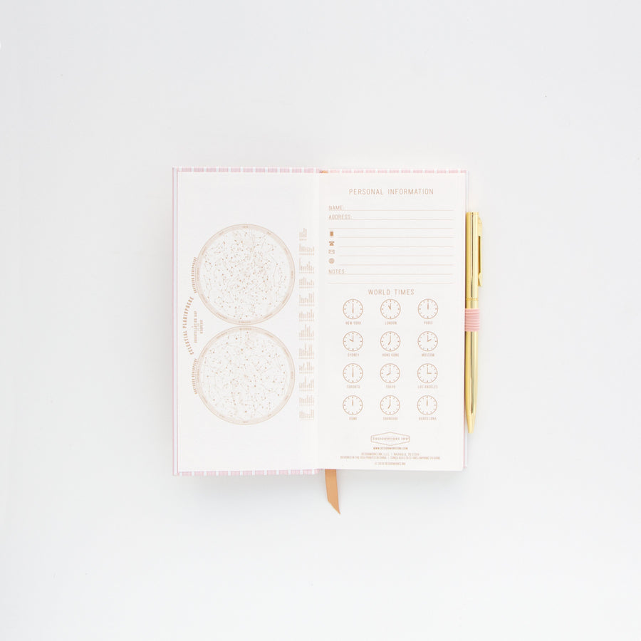SKINNY JOURNALS WITH PEN | PINK STRIPED BOOK CLOTH
