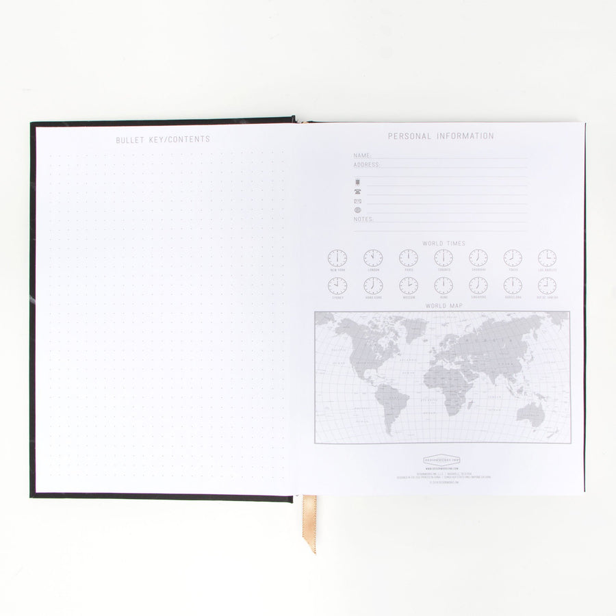 HARD COVER JOURNAL WITH POCKET | MARBLE BLACK