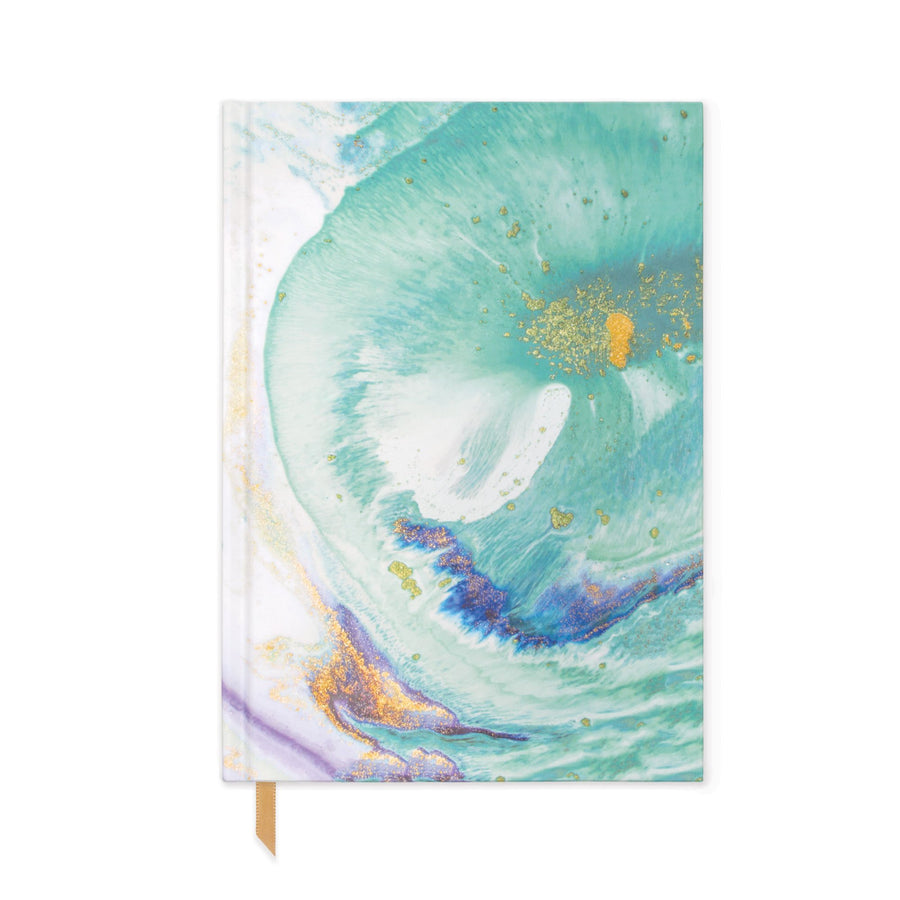 HARD COVER JOURNAL WITH POCKET | TEAL MARBLED PAPER