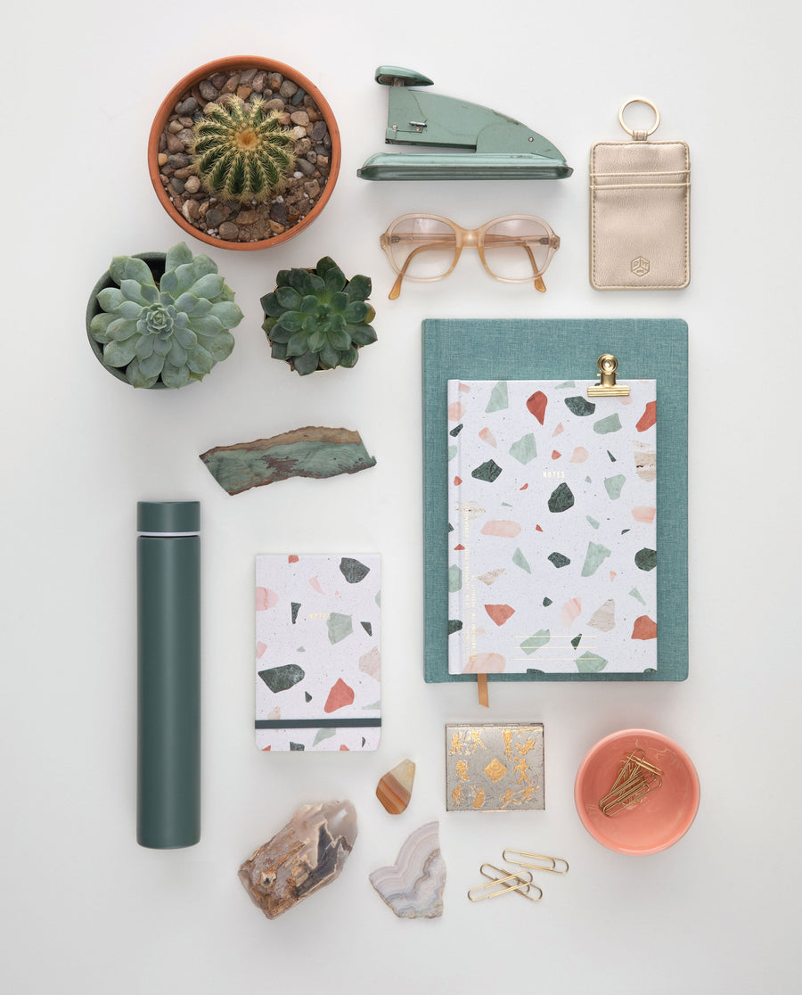HARD COVER JOURNAL WITH POCKET | TERRAZZO