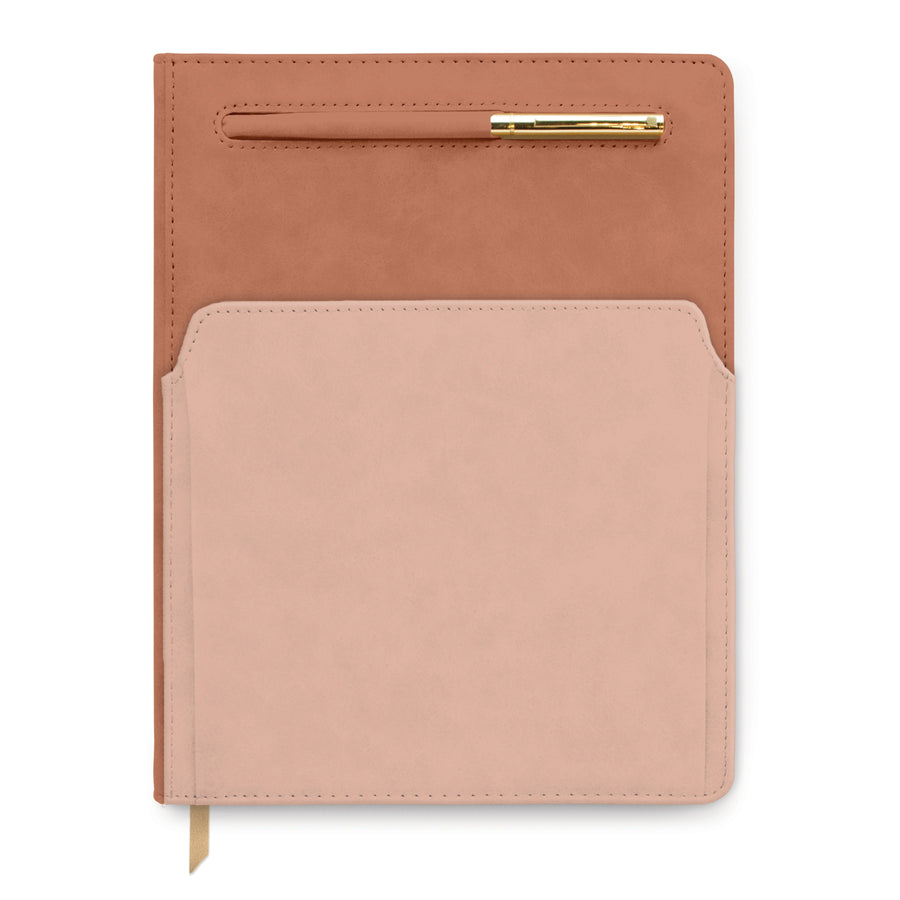 VEGAN LEATHER POCKET JOURNAL | COLORBLOCK TERRACOTTA / BLUSH