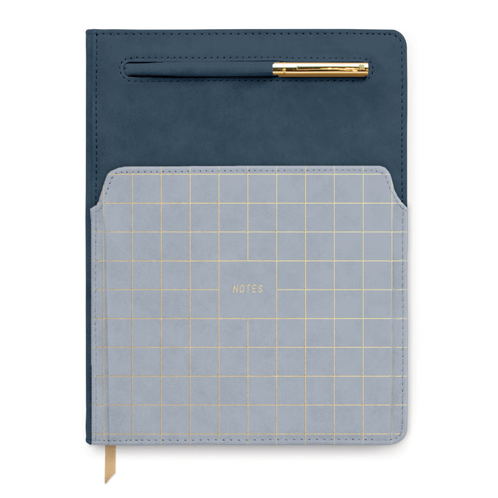 "VEGAN LEATHER POCKET JOURNAL | COLORBLOCK NAVY & LIGHT BLUE GRID ""NOTES"""