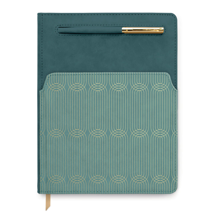 VEGAN LEATHER POCKET JOURNAL | COLORBLOCK GREEN/TEAL RADIANT