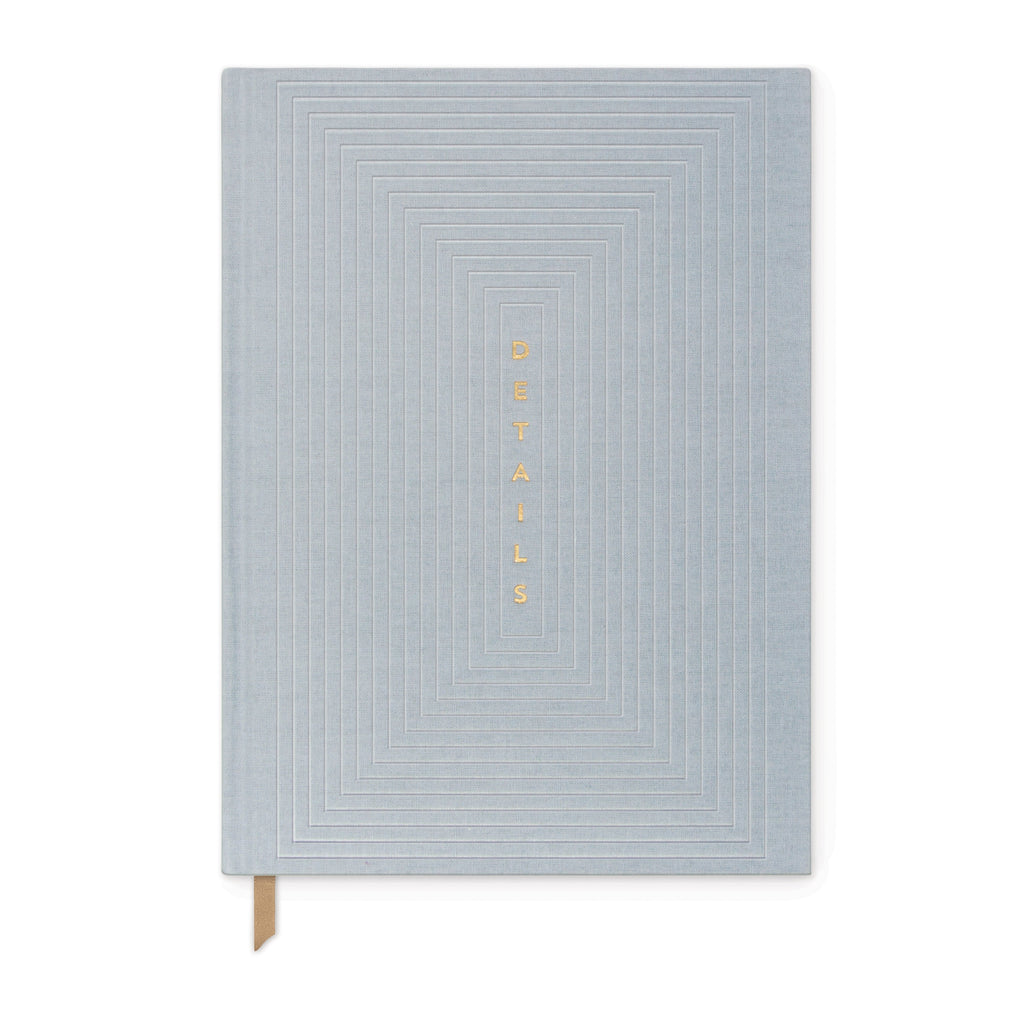 DUSTY BLUE BOOK CLOTH LINEAR BOXES JOURNAL |