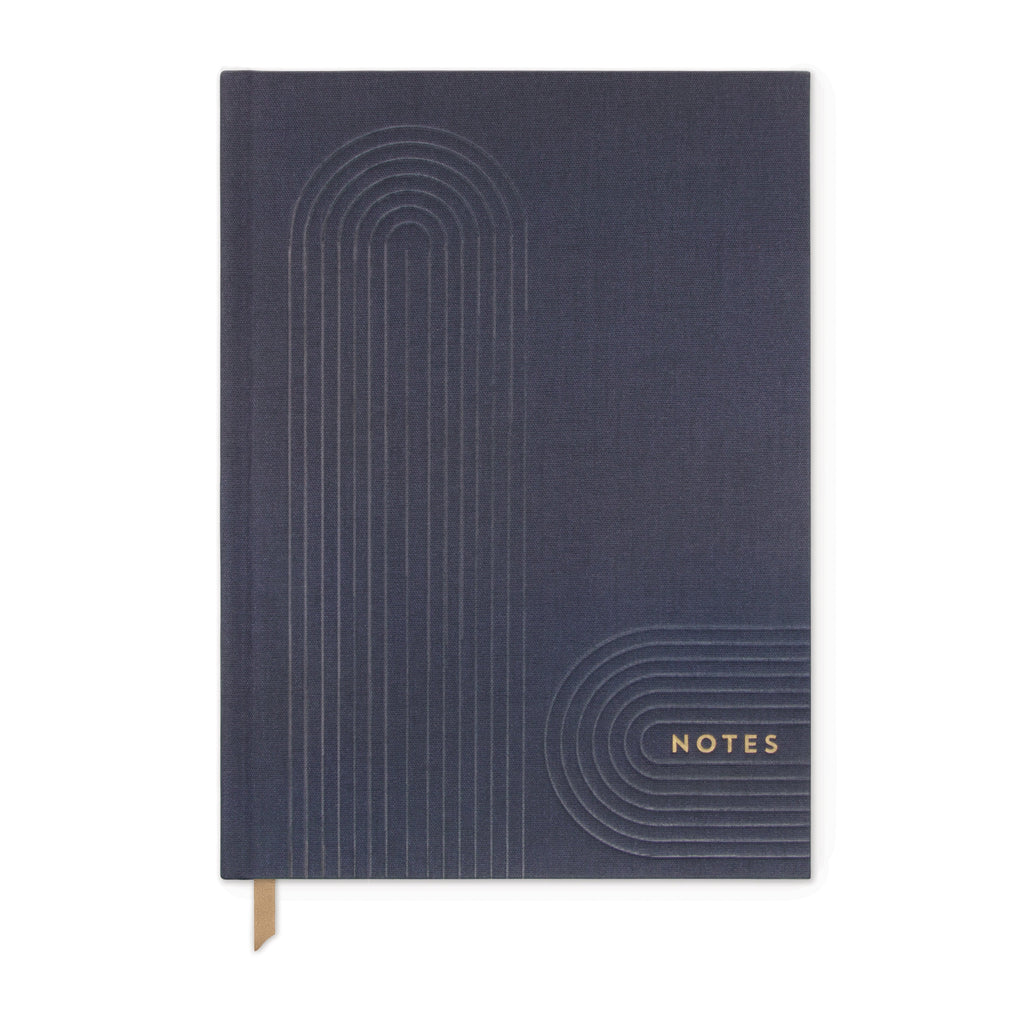 NAVY BOOK CLOTH LINEAR GEO JOURNAL |