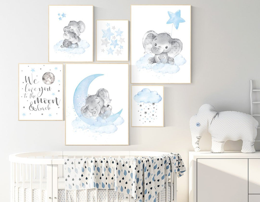 Nursery decor elephant, nursery wall art boy, Blue grey, moon and stars  nursery, elephant nursery art, moon nursery art, baby room wall art