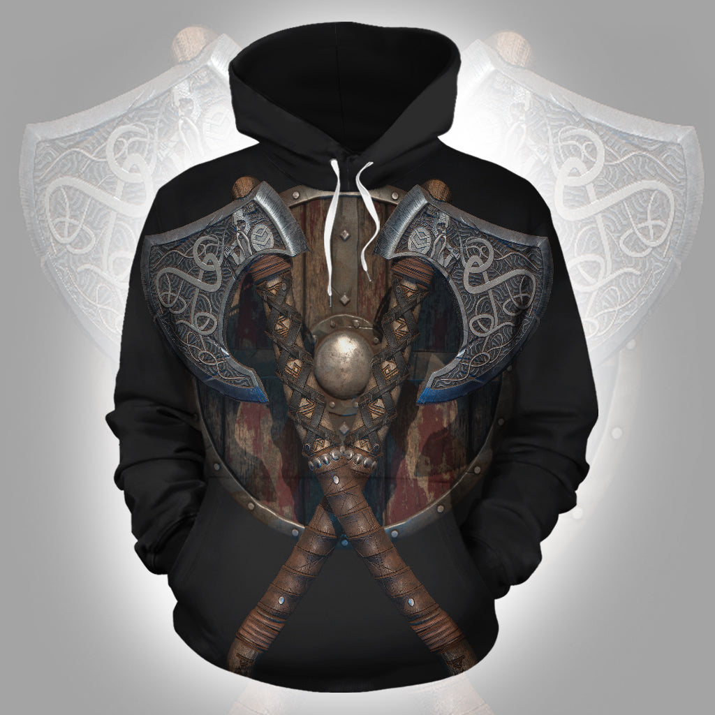 Viking Axe and Shield 3D Hoodie