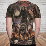 Skull 3D T-shirt_Grim Reaper with Dogs